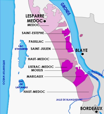 Carte des appellations du Médoc