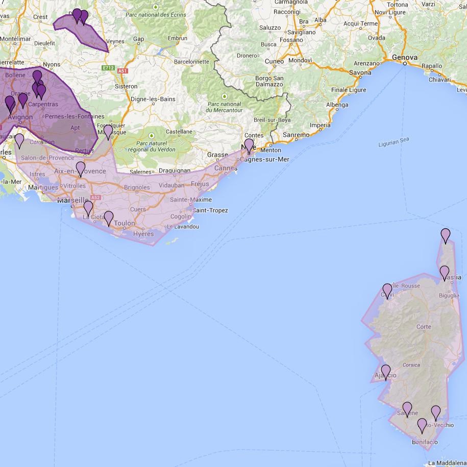 Carte de Provence et Corse
