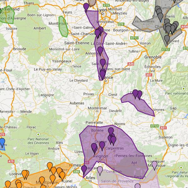 Carte de la Vallée du Rhône